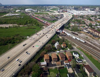 Chicago Highway. A highway with a railroad track in suburban Chicago, Illinois Stock Photos
