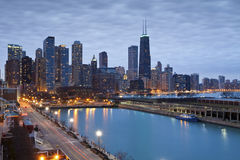 Chicago horisont. Royaltyfri Bild