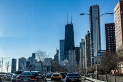 Chicago horisont Amerika 2019 arkivbilder