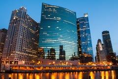 Chicago River beskådar Fotografering för Bildbyråer