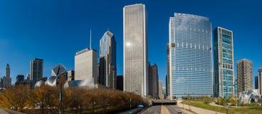 Chicago horisont i millenium parkerar Royaltyfri Bild