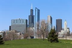 Chicago horisont i sommar Arkivfoto