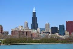 Chicago horisont i sommar Royaltyfri Fotografi