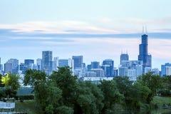 Chicago horisont, Illinois, USA Royaltyfria Bilder