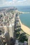 Chicago horisont med kusten Arkivfoto