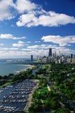 Chicago horisont med lakefronten, IL Arkivfoto