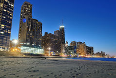 Chicago horisont och strand. Royaltyfria Bilder