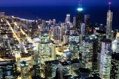 Chicago horisont på natten Royaltyfria Foton