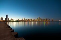 chicago horisontsolnedgång Fotografering för Bildbyråer
