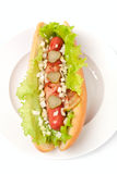 Chicago hotdog. With lettuce, pickles, onions and bacon Royalty Free Stock Photos