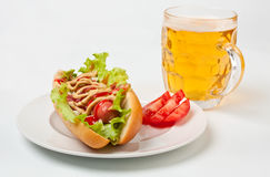 Chicago Hotdog and a Glass of Beer Royalty Free Stock Photography