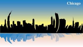 Chicago i morgonen - soluppgång - illustration - blick för fisköga - viktiga byggnader från USA - Amerika stock illustrationer