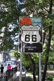Chicago i stadens centrum öglasstart av Route 66 Arkivbild