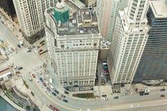 Chicago. I stadens centrum flyg- sikt av Chicago. Arkivbild