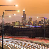 chicago i stadens centrum horisont Royaltyfria Foton