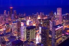 chicago i stadens centrum horisonter Arkivfoto