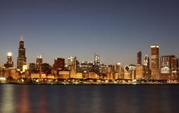 chicago i stadens centrum illinois horisont Arkivbild