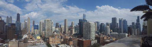 Chicago i stadens centrum panorama på en solig dag royaltyfri fotografi