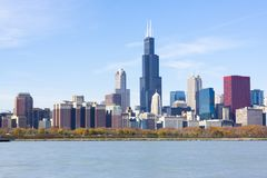 Chicago i stadens centrum skyskrapor Arkivbild