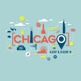 Chicago icons and typography design Stock Image
