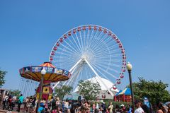 Chicago, IL-August 19,2015: Navy pier stock photography