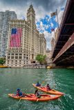 Chicago IL-Förenta staterna - Augustl 09, 2017: Sommarkayakers Royaltyfri Foto