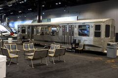 Train wagon as a bar and grill at the annual International auto-show, February 9, 2019 in Chicago, IL
