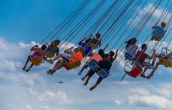 CHICAGO, IL, July 02, 2017: Children  ride the  wave swinger, at Royalty Free Stock Image