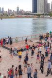 CHICAGO, IL - JULY 10, 2018 - Zumba public performance in Chicago Il by the Pier stock images