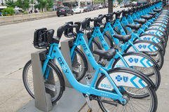 CHICAGO, IL- JUNE 11, 2015: Divvy bikes in Chicago Stock Photo
