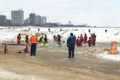 Chicago Polar Plunge 2014. Chicago, IL  - March 2, 2014 - hundreds of brave Chicagoans showed up to jump into the freezing lake Michigan water at the Annual Stock Photo