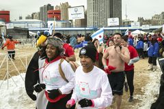 Chicago Polar Plunge 2014. Chicago, IL  - March 2, 2014 - hundreds of brave Chicagoans showed up to jump into the freezing lake Michigan water at the Annual Royalty Free Stock Images