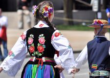 Chicago, IL-May 5, 2018: Traditional folk costumes from Lowicz, Poland. stock image