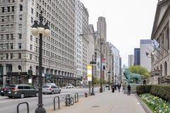 CHICAGO, IL - 5 MEI, 2011 - Mening van het Ave van Michigan dichtbij Art Institute van Chicago Royalty-vrije Stock Afbeeldingen