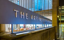 CHICAGO, IL - NOVEMBER 29, 2018 - Entrance to the modern wing of Art Institute of Chicago during winter, late evening stock image