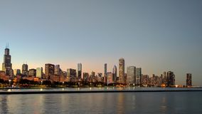 Chicago's blue hour skyline during the 2016 World Series Championships Stock Photography
