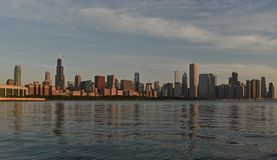 Chicago Lakeshore Skyline including Sears Tower and Lake Michigan stock photos