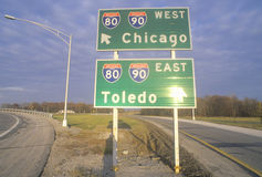 Chicago, IL and Toledo, OH interstate highway sign Royalty Free Stock Photos