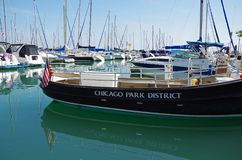 Chicago, IL, United States - September 3, 2017: Sailboats docked in Chicago harbor, Lake Michigan. Royalty Free Stock Photography