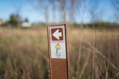 Chicago,Il,USA,April 22 2017:Illinois Habitat Trail Signpost in Forest Preserve,for editorial use only royalty free stock photo