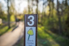 Chicago,Il,USA,April 22 2017:Illinois Habitat Trail Signpost in Forest Preserve,for editorial use only stock photos