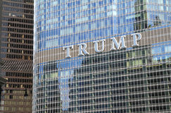 CHICAGO, IL, USA - August 17, 2015: Close up of the Trump International Hotel & Trump Tower sign, named after Donald Trump Royalty Free Stock Images