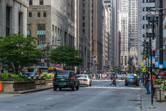 Chicago, IL/USA - circa julio de 2015: Calles de Chicago céntrica, Illinois Imágenes de archivo libres de regalías