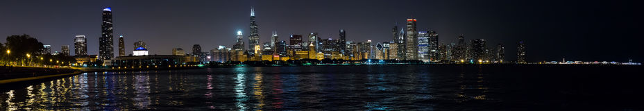 Chicago, IL/USA - circa July 2015: Night View of Chicago Downtown from Adler Planetarium,  Illinois Royalty Free Stock Photos