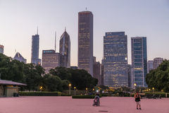 Chicago, IL/USA - circa July 2015: View of Chicago Downtown from Grant Park,  Illinois Stock Image