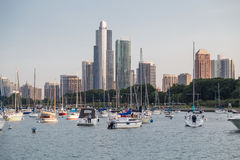 Chicago, IL/USA - circa July 2015: Yachts in Chicago,  Illinois Stock Photos