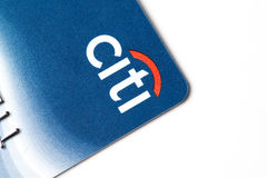 Chicago,IL,USA,Feb-12,2017,Close up of a Citi Credit Card for editorial use only. Chicago,IL,USA,Feb-12,2017,Close up of a Citi Credit Card on white background Stock Image