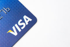 Chicago,IL,USA,Feb-12,2017,Close up of a Visa Credit Card for editorial use only. Chicago,IL,USA,Feb-12,2017,Close up of a Visa Credit Card on white background Royalty Free Stock Photography