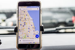 Chicago,IL,USA,Feb-21,2017,Smartphone attached to a car mount in car with Google map for editorial use only. Chicago,IL,USA,Feb-21,2017,Smartphone attached to a Royalty Free Stock Photography