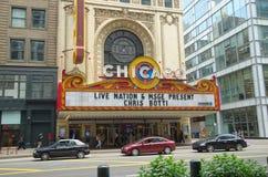 CHICAGO IL, USA - JUNI 14, 2015: Chicago teater på State Street Denna teater är den berömda amerikanska gränsmärket royaltyfri foto